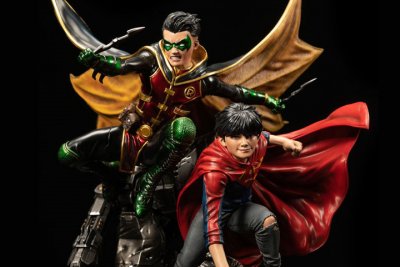 DC Rebirth Premium Collectibles Super Sons 1/6 Scale Limited Edition Statue with Plaque 86fashion ploystone statue