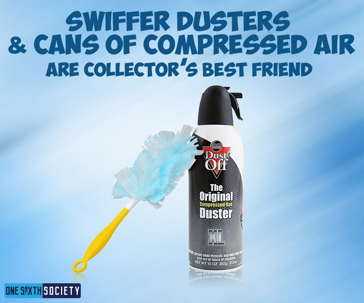 A Compressed Can Of Air And a Swiffer Duster is Great for Cleaning Action Figures